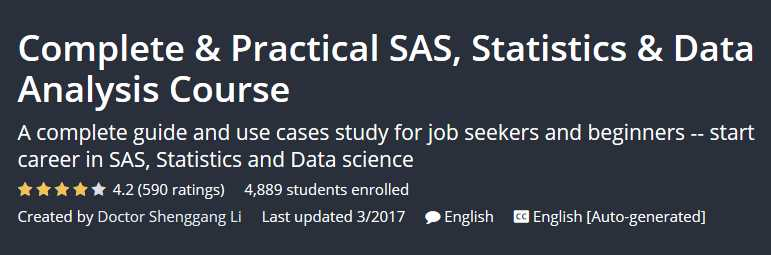 Complete & Practical SAS, Statistics & Data Analysis Course