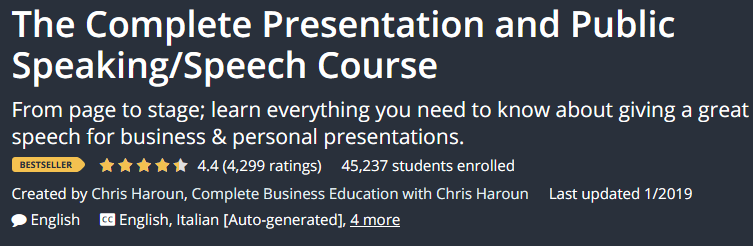 The Complete Presentation and Public Speaking / Speech Course