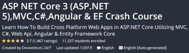 ASP NET Core 3 (ASP.NET 5), MVC, C #, Angular & EF Crash Course