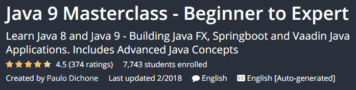 Java 9 Masterclass - Beginner to Expert
