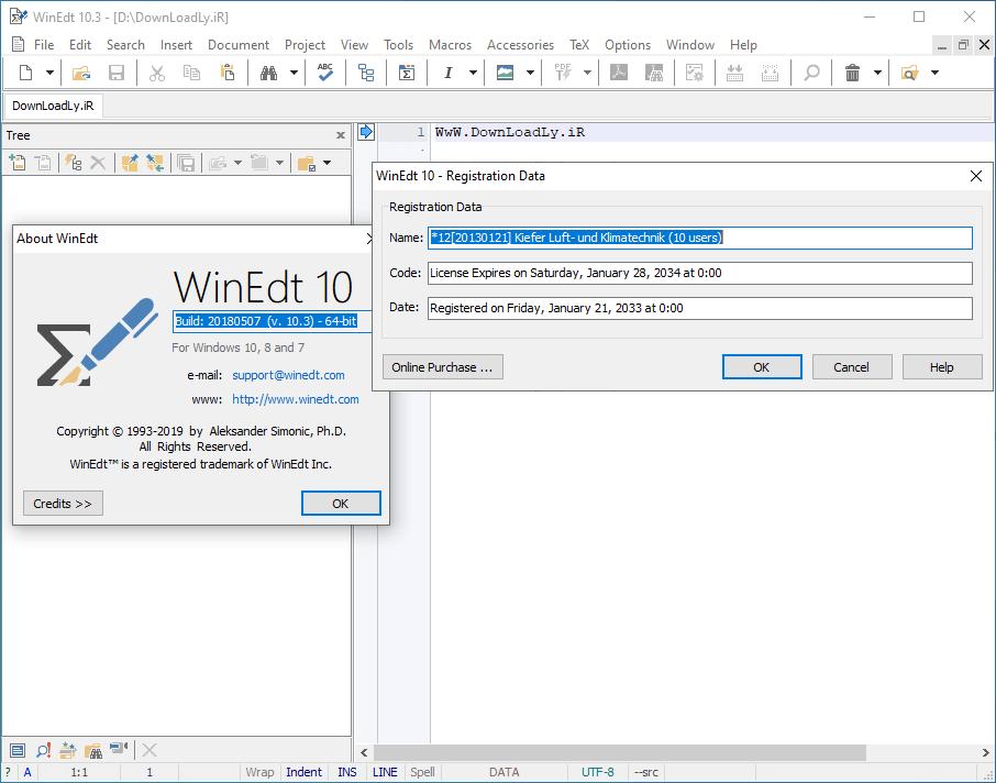 WinEdt screenshot