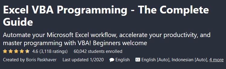 Excel VBA Programming - The Complete Guide