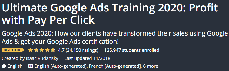 Ultimate Google Ads Training 2020 Profit with Pay Per Click screen