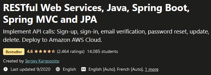 RESTful Web Services, Java, Spring Boot, Spring MVC and JPA