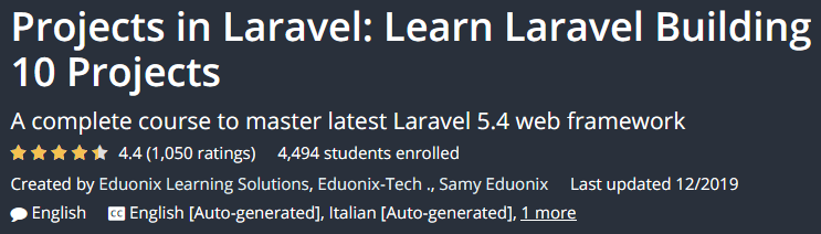 Projects in Laravel: Learn Laravel Building 10 Projects