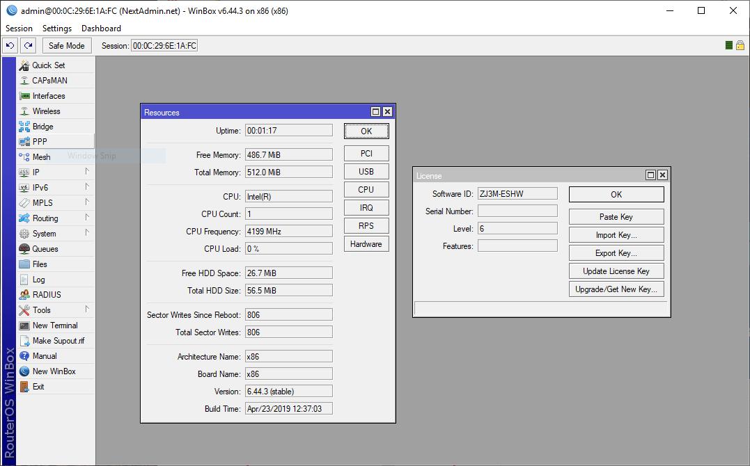 RouterOS screenshot