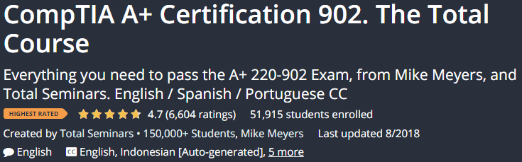CompTIA A + Certification 902. The Total Course