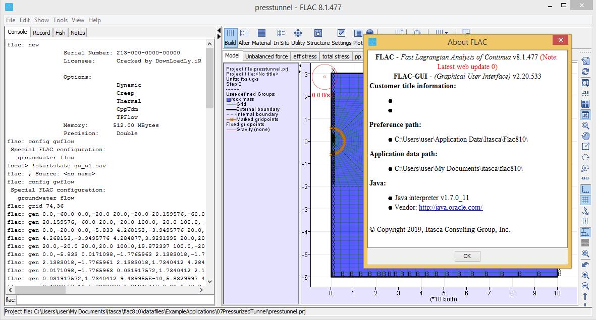 Itasca FLAC screenshot