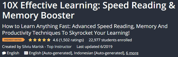Effective Learning Speed Reading Memory Booster