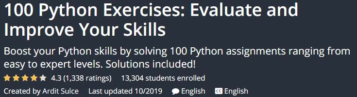 100 Python Exercises Evaluate and Improve Your Skills