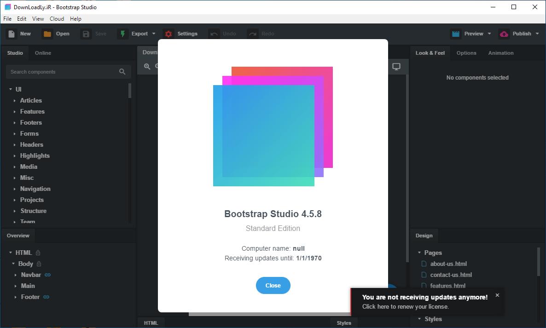 Bootstrap Studio screenshot