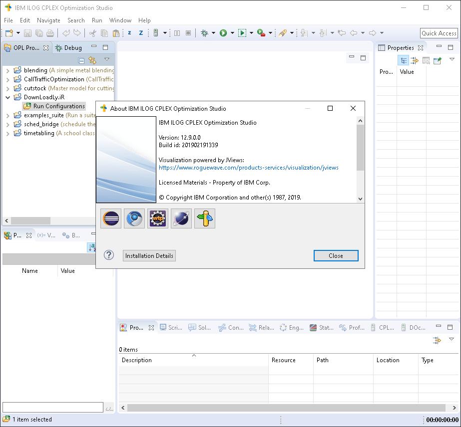 IBM ILOG CPLEX screenshot