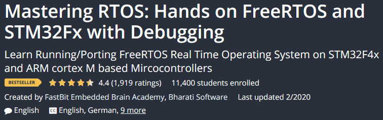 RTOS Mastering: Hands on FreeRTOS and STM32Fx with Debugging