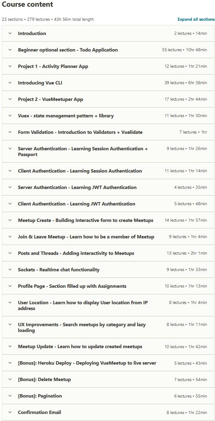 The Complete Vue JS Developer Course – inc. Vue JS 2!
