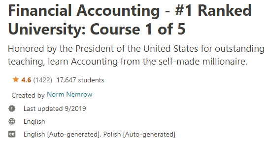 Financial Accounting - # 1 Ranked University: Course 1 of 5