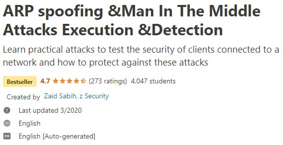 ARP spoofing Man In The Middle Attacks