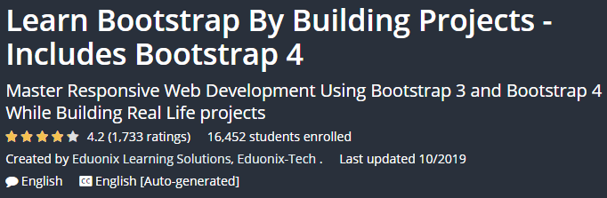 Learn Bootstrap By Building Projects - Includes Bootstrap 4