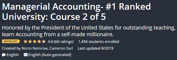 Managerial Accounting- # 1 Ranked University: Course 2 of 5