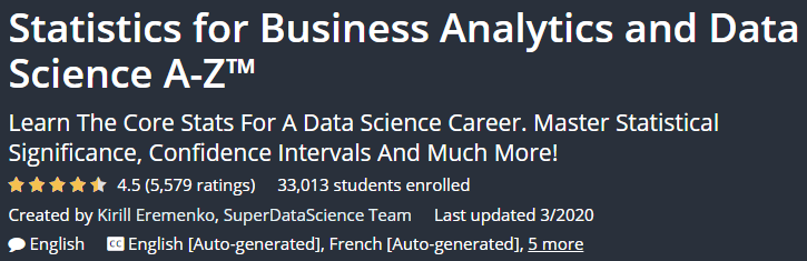 Statistics for Business Analytics and Data Science A-Z ™