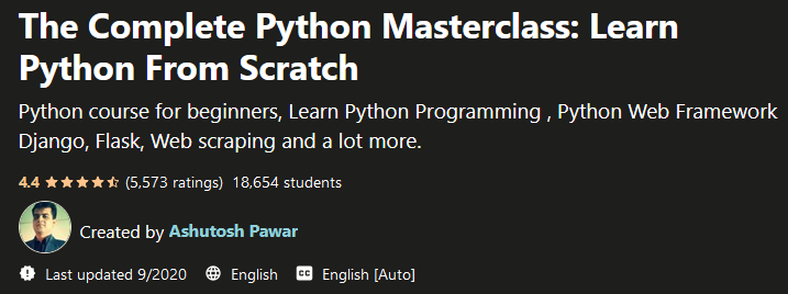 The Complete Python Masterclass: Learn Python From Scratch