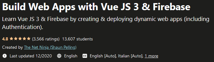 Build Web Apps with Vue JS 3 & Firebase