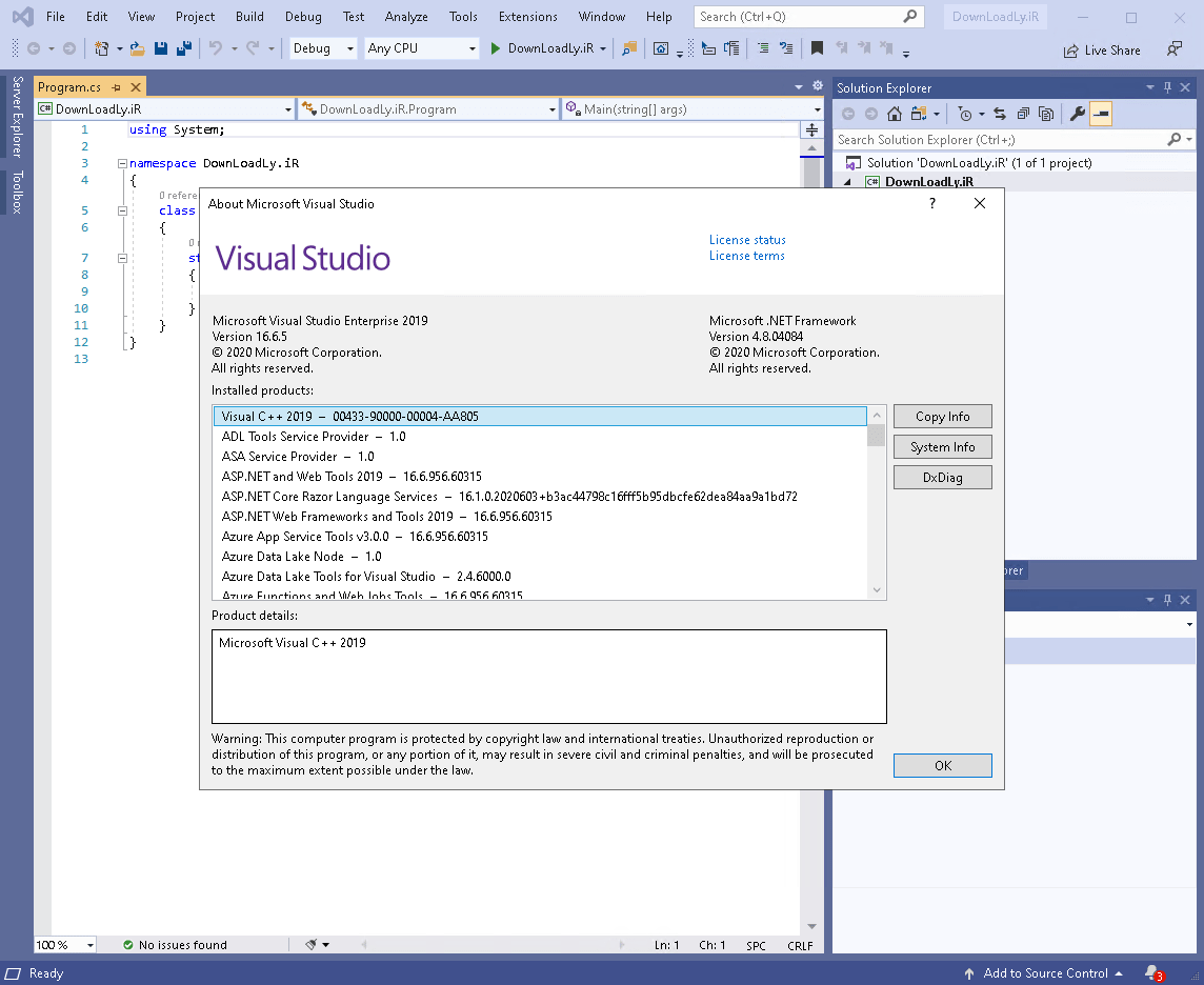 Visual Studio screenshot