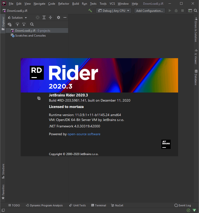JetBrains Rider screenshot