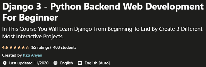 Django 3 Python Backend Web Development For Beginner