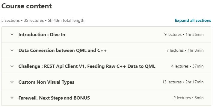 Qt Quick and QML Intermediate Qt 5 Interfacing to Cpp contents