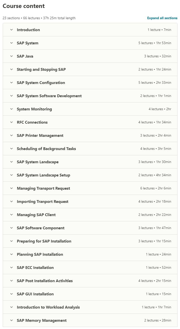 SAP Basis Administration contents