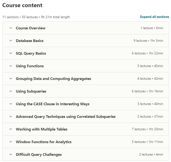 Master SQL For Data Science contents