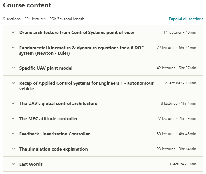 Applied Control Systems for Engineers 2 - UAV drone control Contents