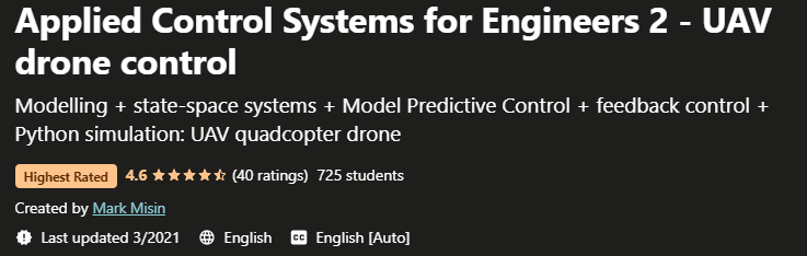 Applied Control Systems for Engineers 2 - UAV drone control