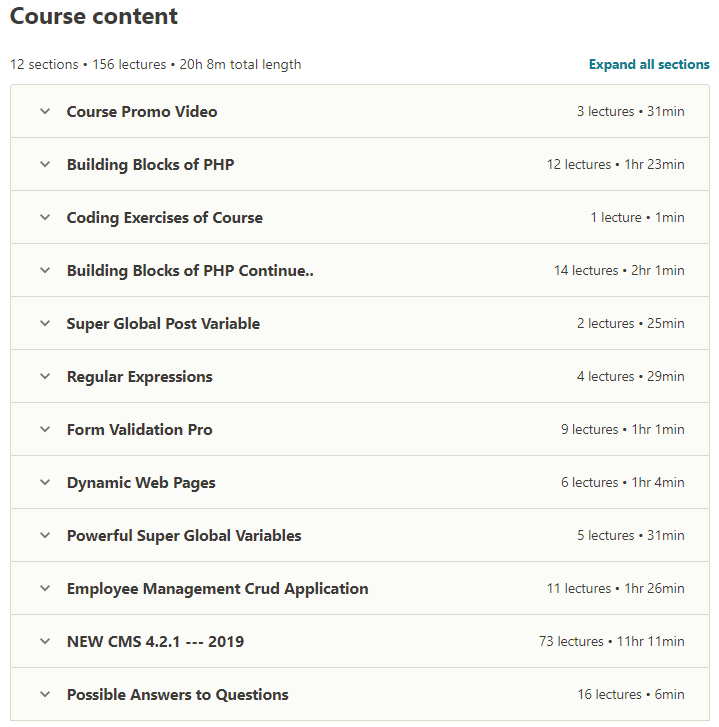 The Complete PHP MYSQL Professional Course with 5 Projects Contents